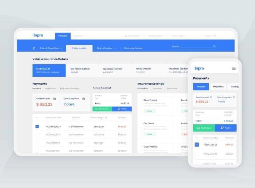 Web development of a platform for insurance claim management